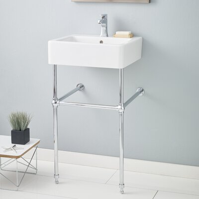 Nuovella 23.63 Console Bathroom Sink with Overflow Finish: Chrome, Faucet Mount: 8 Drilling