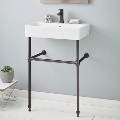 Nuo 24 Console Bathroom Sink with Overflow Finish: Antique Bronze, Faucet Mount: 8 Drilling
