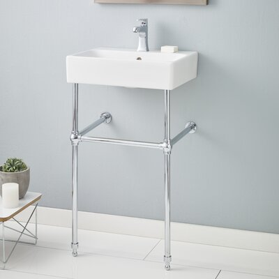 Nuo Ceramic 20 Console Bathroom Sink with Overflow Finish: Chrome