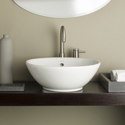 Water Lily Circular Vessel Bathroom Sink with Overflow