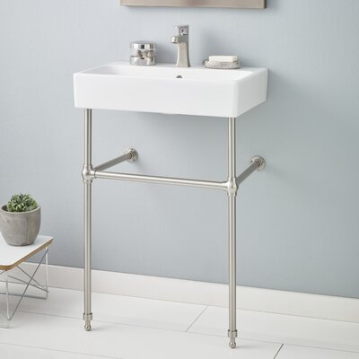 Nuo 24 Console Bathroom Sink with Overflow Finish: Brushed Nickel, Faucet Mount: 8 Drilling