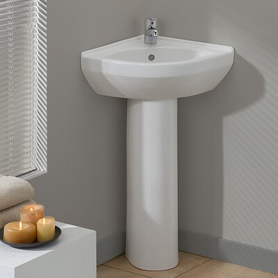 Petite Vitreous China 23 Pedestal Bathroom Sink with Overflow