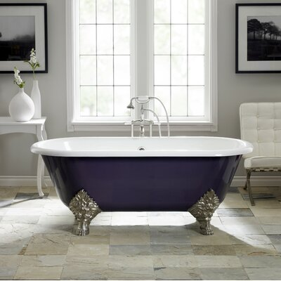 Carlton 70 x 32 Soaking Bathtub with 6 Drilling Feet Finish: Brushed Nickel, Color: White Interior with Custom Exterior