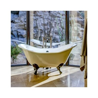 Regency 68 x 31 Soaking Bathtub with 6 Drilling Feet Finish: Polished Brass, Color: Biscuit Interior with Custom Exterior