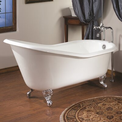 61 x 30 Soaking Bathtub Feet Finish: Polished Nickel, Color: White Interior with White Exterior
