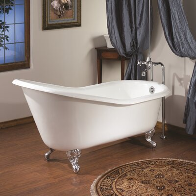 61 x 30 Soaking Bathtub with Continuous Rolled Rim Feet Finish: Polished Nickel, Color: White Interior with White Exterior
