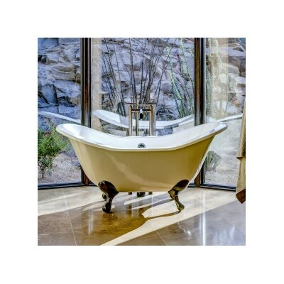 Regency 61 x 30 Soaking Bathtub Feet Finish: Polished Brass, Color: White Interior with Custom Exterior