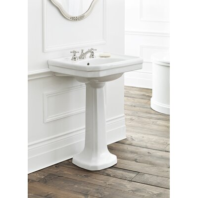 Mayfair Vitreous China 25 Pedestal Bathroom Sink with Overflow
