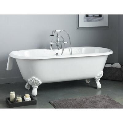 Regal 68 x 31 Soaking Bathtub with 7 Drilling Feet Finish: Polished Brass, Color: Biscuit Interior with Custom Exterior