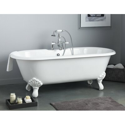 Regal 68 x 31 Soaking Bathtub with Single Drilling Feet Finish: Brushed Nickel, Color: White Interior with Custom Exterior