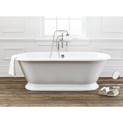 Sandringham 70 x 31 Soaking Bathtub With Pedestal Base And Flat Area For Faucet Holes Color: White Interior with White Exterior