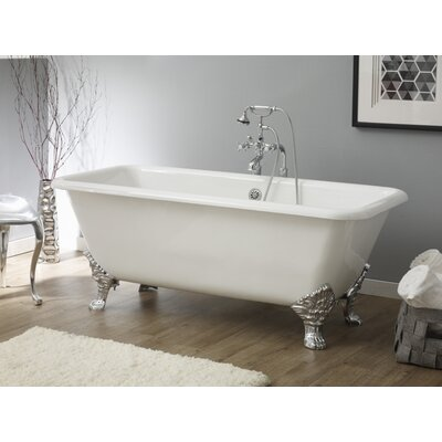Spencer 66.88 x 31.88 Soaking Bathtub With Continuous Rolled Rim Feet Finish: Polished Brass, Color: White Interior with White Exterior