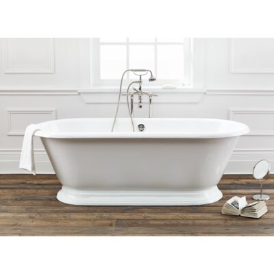 Sandringham 70 x 31 Soaking Bathtub With Pedestal Base And Flat Area For Faucet Holes Color: White Interior with Custom Exterior