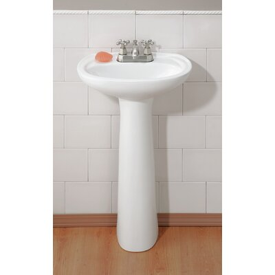 Fiore Vitreous China 21 Pedestal Bathroom Sink with Overflow