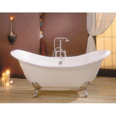 Regency 68 x 31 Soaking Bathtub with 8 Drilling Feet Finish: Chrome, Color: Biscuit Interior with Biscuit Exterior