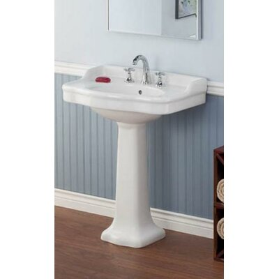 Vitreous China 23 Pedestal Bathroom Sink with Overflow Faucet Mount: 8 Drilling