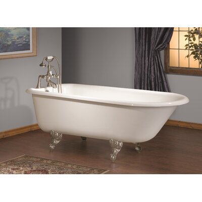 54 x 30 Soaking Bathtub with Faucet Holes In Wall of Tub Feet Finish: Polished Brass, Color: White Interior with White Exterior