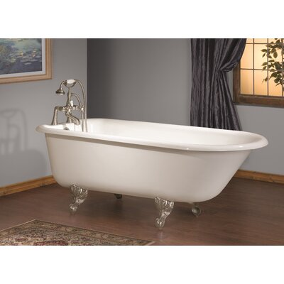 54 x 30 Soaking Bathtub with Single Drilling Feet Finish: Polished Nickel, Color: White Interior with Custom Colour Exterior