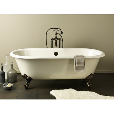 Regal 68 x 31 Soaking Bathtub with Continuous Rolled Rim Feet Finish: Polished Brass, Color: White Interior with White Exterior