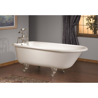 68 x 30 Soaking Bathtub with Continuous Rolled Rim Feet Finish: Brushed Nickel, Color: White Interior with White Exterior