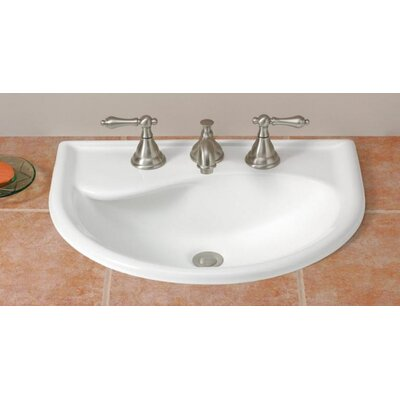 Calypso Vitreous China U-Shaped Drop-In Bathroom Sink with Overflow Faucet Mount: 4 Drilling