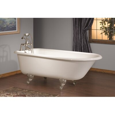 68 x 30 Soaking Bathtub with 8 Drilling Color: White Interior with Custom Colour Exterior, Feet Finish: Polished Brass