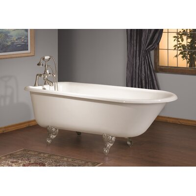 61 x 30 Soaking Bathtub with Faucet Holes In Wall of Tub Feet Finish: Polished Brass, Color: White Interior with White Exterior