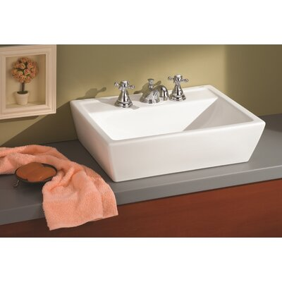 Sentire Ceramic Rectangular Vessel Bathroom Sink Faucet Mount: 8 Drilling