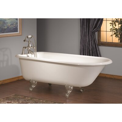 68 x 30 Soaking Bathtub with Faucet Holes In Wall of Tub Feet Finish: Polished Brass, Color: White Interior with White Exterior