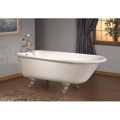 61 x 30 Soaking Bathtub with Continuous Rolled Rim Feet Finish: Chrome, Color: White Interior with White Exterior