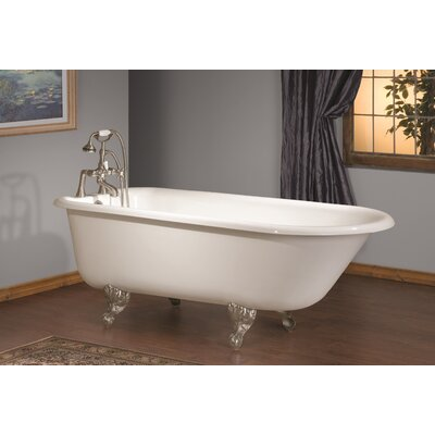61 x 30 Soaking Bathtub Feet Finish: Polished Brass, Color: White Interior with Custom Colour Exterior