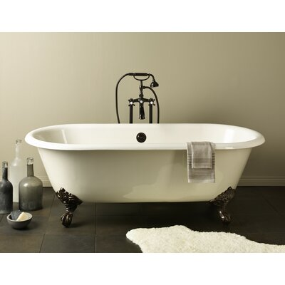 Regal 68 x 31 Soaking Bathtub with Flat Area For Faucet Holes Feet Finish: Polished Brass, Color: White Interior with Custom Colour Exterior