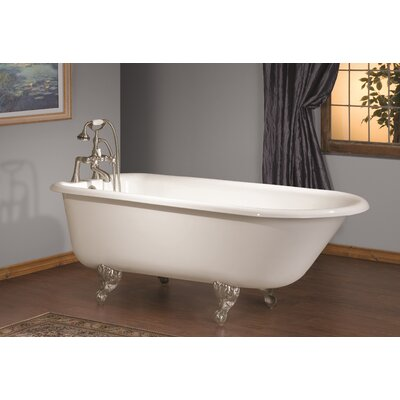 61 x 30 Soaking Bathtub Feet Finish: Chrome, Color: White Interior with Custom Colour Exterior