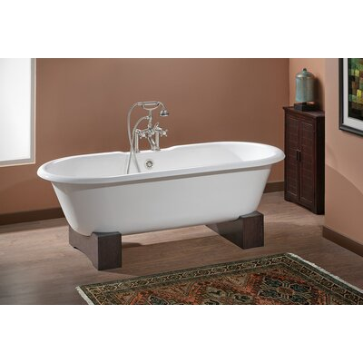 Regal 61 x 31 Soaking Bathtub with Continuous Rolled Rim Feet Finish: Dark Beech, Color: White Interior with Custom Colour Exterior