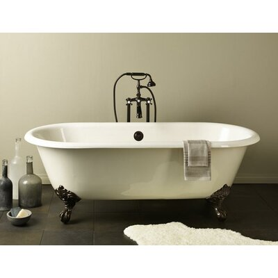 Regal 61 x 31 Soaking Bathtub with Continuous Rolled Rim Feet Finish: Polished Brass, Color: White Interior with White Exterior