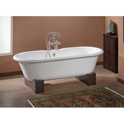 Regal 68 x 31 Soaking Bathtub with Continuous Rolled Rim Color: Biscuit Interior with Custom Colour Exterior, Feet Finish: Natural Beech