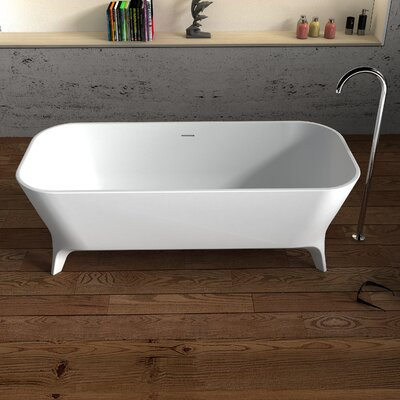 Palermo Solid Surface 70.75 x 31.5 Freestanding Soaking Bathtub