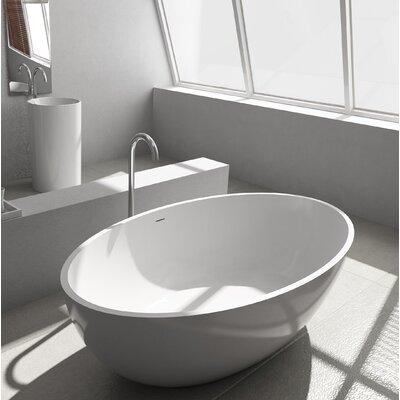 Pietro Solid Surface 69.25 x 40.5 Freestanding Soaking Bathtub
