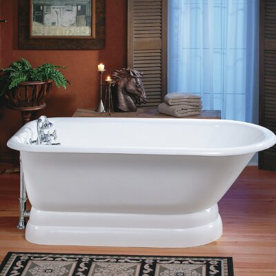 Traditional Cast Iron 68 x 30 Freestanding Soaking Bathtub with Pedestal Base Color: White, Faucet Hole Configuration: 8 Faucet Hole Drilling