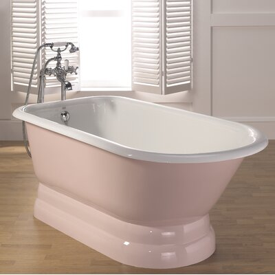 Traditional Cast Iron 68 x 30 Freestanding Soaking Bathtub with Pedestal Base Color: Pink, Faucet Hole Configuration: 7 Faucet Hole Drilling