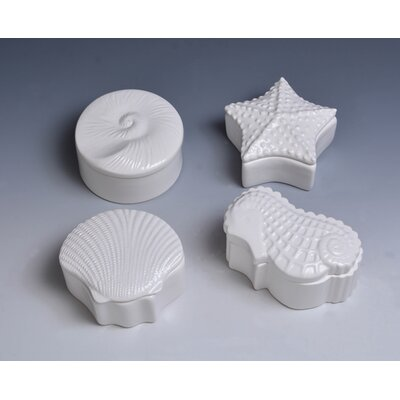 4 Piece Decorative Shell Cover Box Set