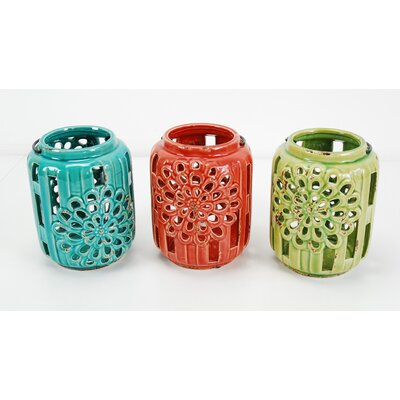 Ceramic Lantern Color: Green