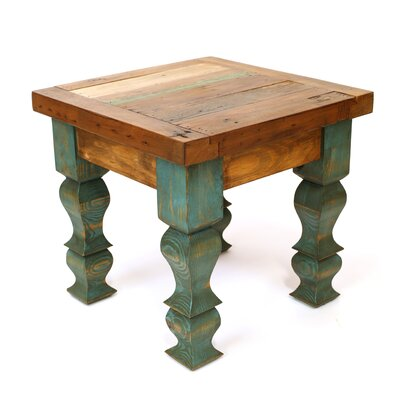 Rustic Old Door End Table Finish: Brown and Turquoise