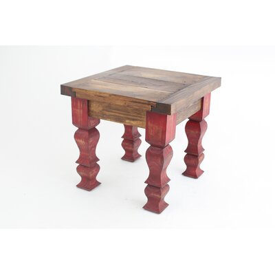 Rustic Old Door End Table Finish: Red