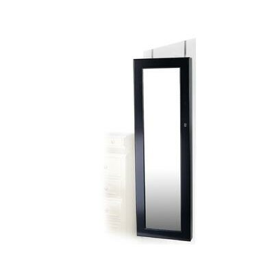 Premium Over the Door Jewelry Armoire with Mirror Finish: Black