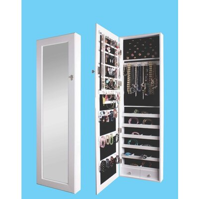 Premium Over the Door Jewelry Armoire with Mirror Finish: White