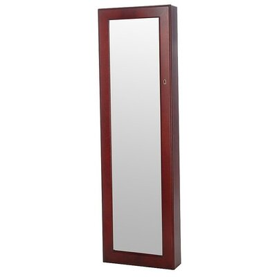 Premium Over the Door Jewelry Armoire with Mirror Finish: Cherry