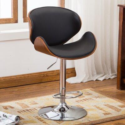 Bentwood Leather Adjustable Height Swivel Bar Stool