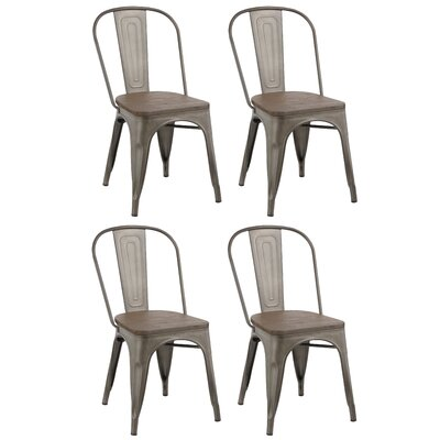 Linneus Industrial Metal Solid Wood Dining Chair