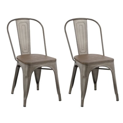 Industrial Metal Solid Wood Dining Chair